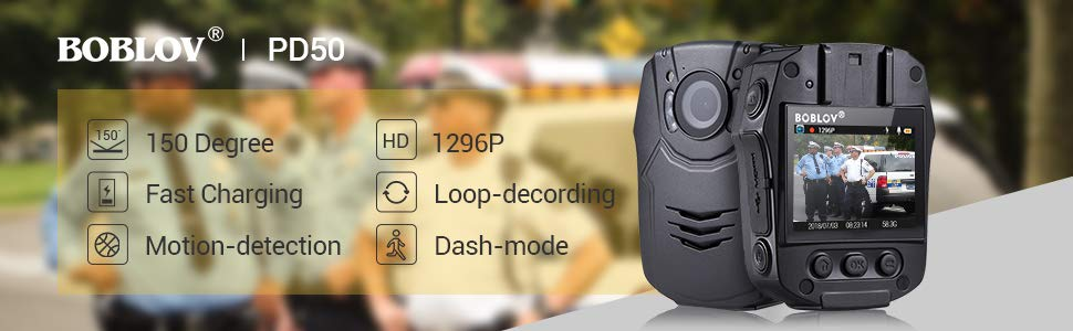 BOBLOV Body Camera 1296P Body Worn Mounted Cam Lightweight Night Vision 150 Degree Angle Playback Charging 1 Hours for 7Hours Recoding (Built-in 32G)