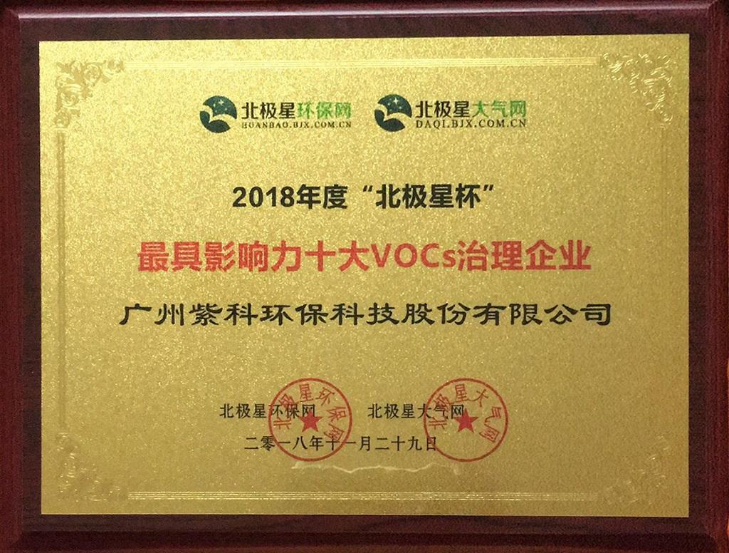"""紫科环保获2018北极星杯""""十大VOCs治理企业""""殊荣"""