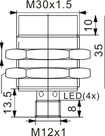 全金属封装电感式接近开关 M30