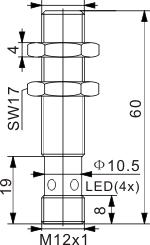 全金属检测型电感式接近开关 M12