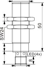 全金属检测型电感式接近开关 M30
