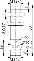 圆柱型电容式接近开关 M12