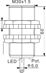 圆柱型电容式接近开关 M30