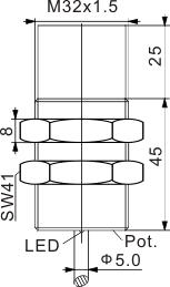 圆柱型电容式接近开关 M32