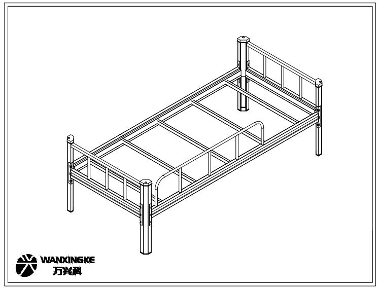六边形立柱单人床