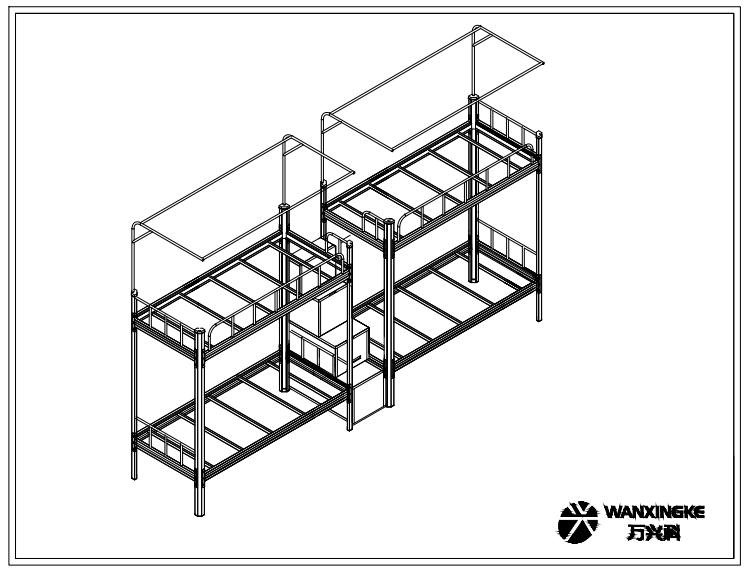 六边形立柱连体上下床