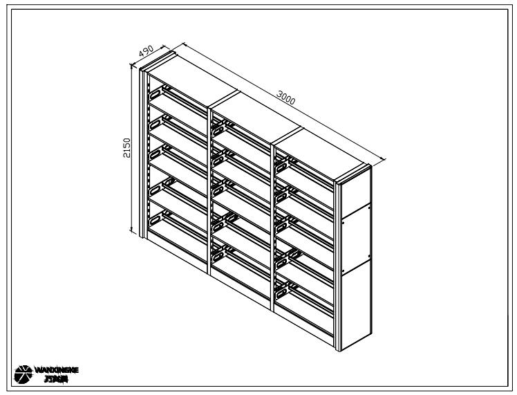 3节5层双面书架