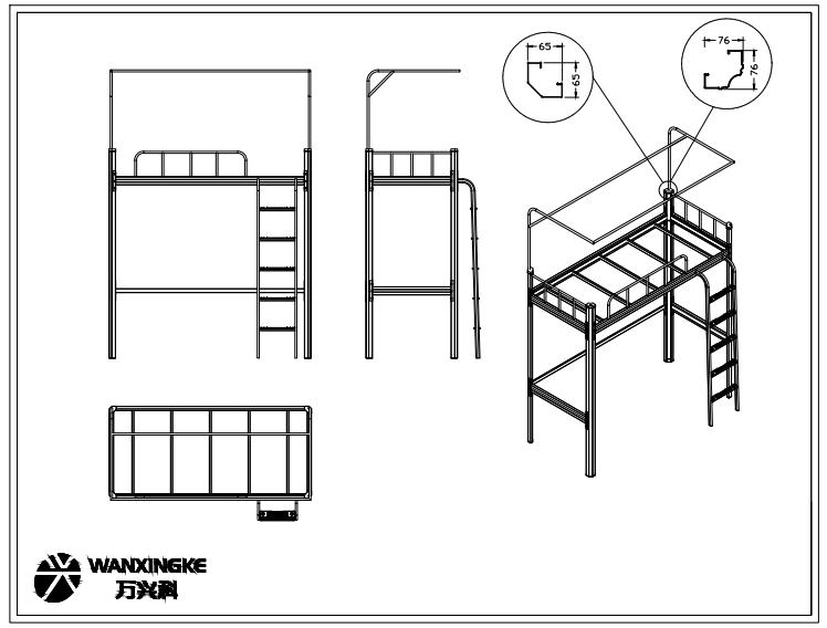 六边形立柱公寓床