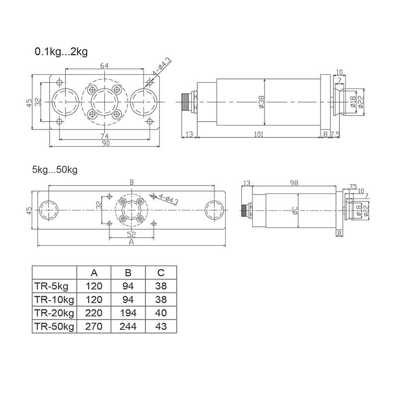 TR系列通用型三滚轮式张力传感器 (型号:TR)