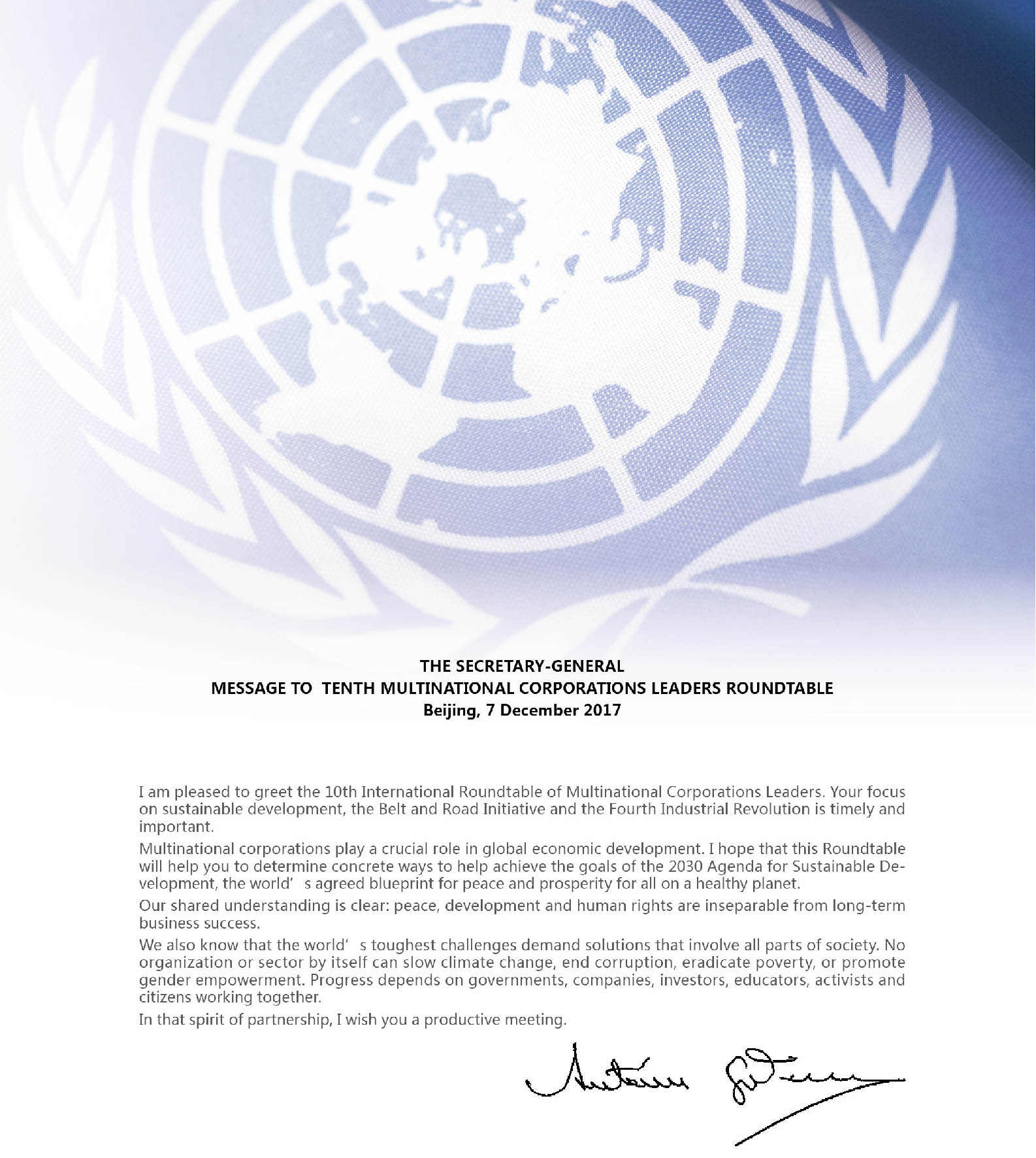 UN Secretary-General Mr. António Guterres sends congratulatory messages to International Roundtable of Multinational Corporations Leaders every year since 2017