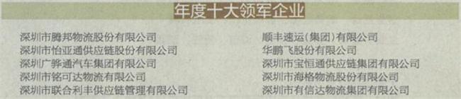 标杆丨联合利丰被评为2018深圳物流供应链十大领军企业