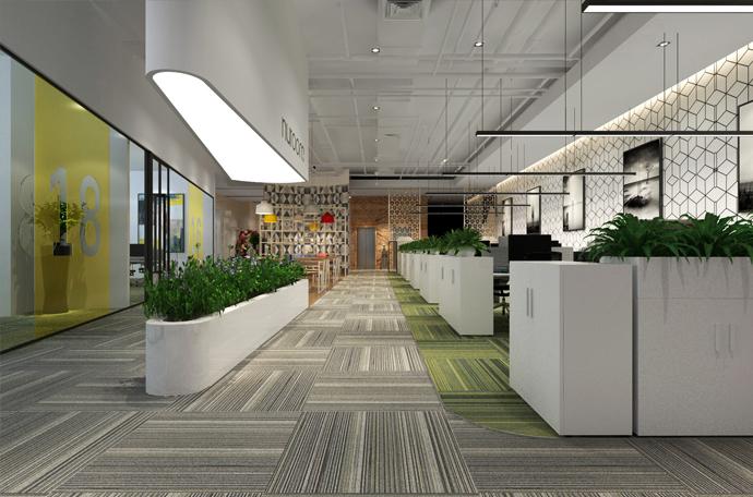 办公室装修设计中利用绿化组织室内空间的形式