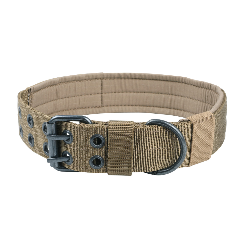 Tactical Nylon Dog Collar Outdoor Hunting Training Adjustable Comfortable Necklace Double-Corn Buckle