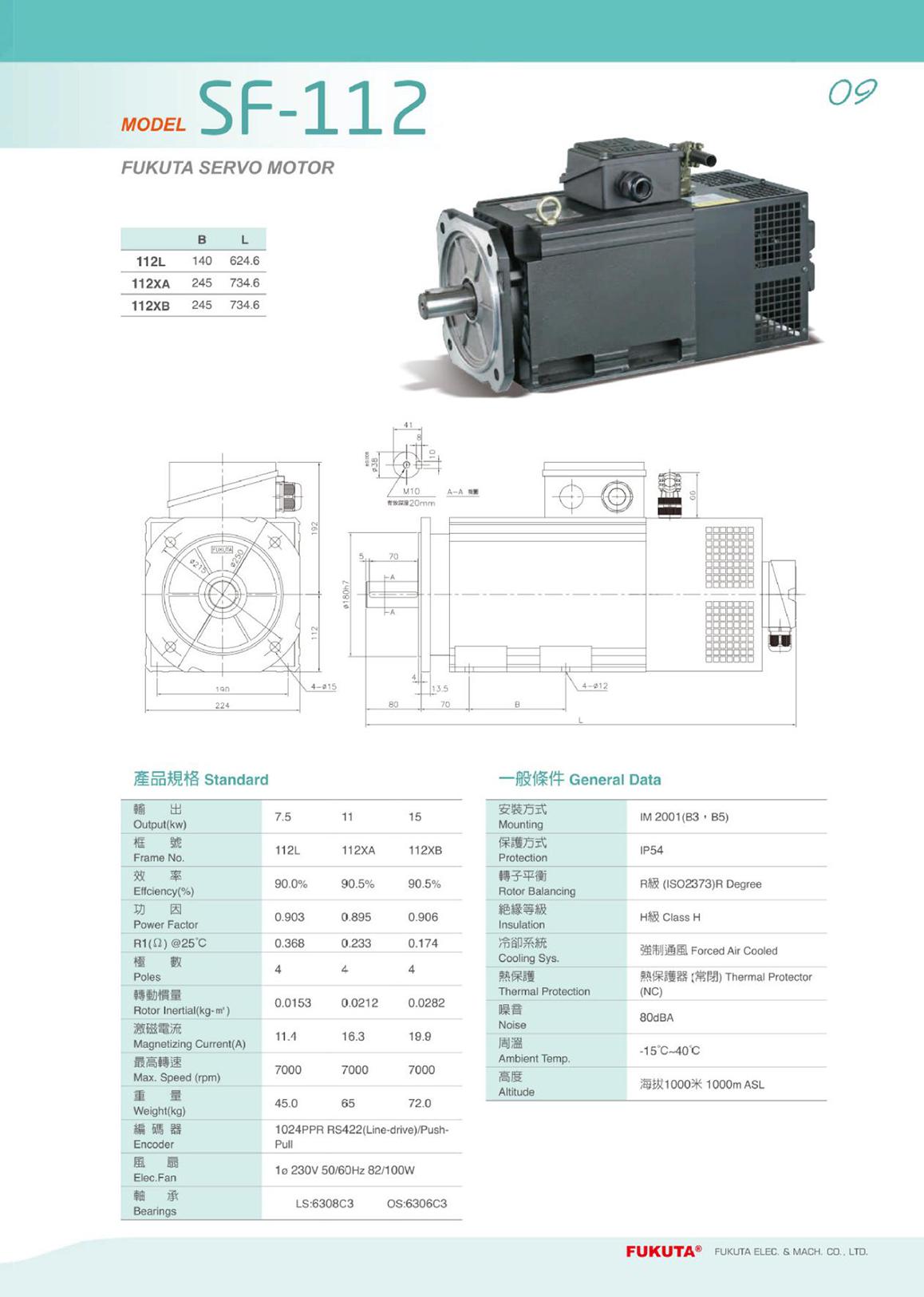 台湾进口富田电机 卧式单相220V电机 小型交流电机