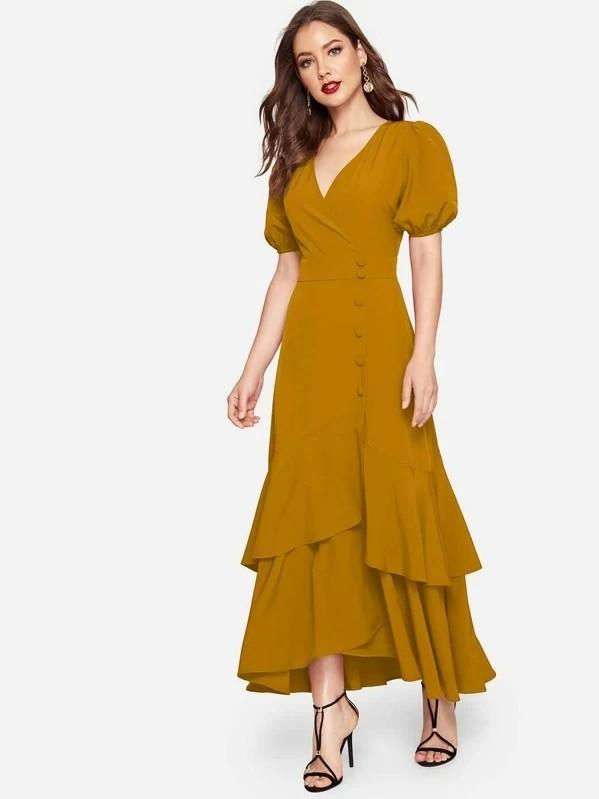 Puff Sleeve Layered Ruffle Hem Button Front Dress