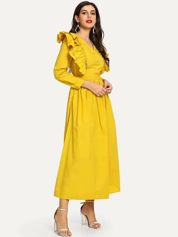 Tiered Ruffle Half Button Maxi Flare Dress