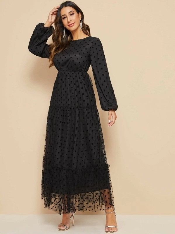 Lantern Sleeve Frill Trim Mesh Dress