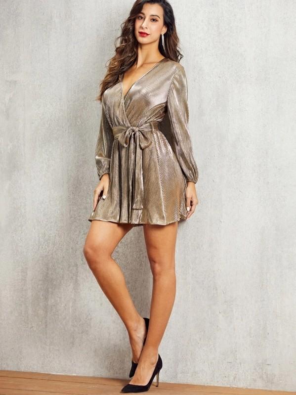 Self Belted Wrap Pleated Metallic Dress