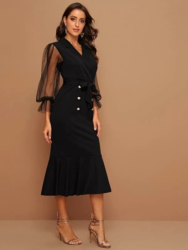 Contrast Mesh Self Tie Fitted Dress
