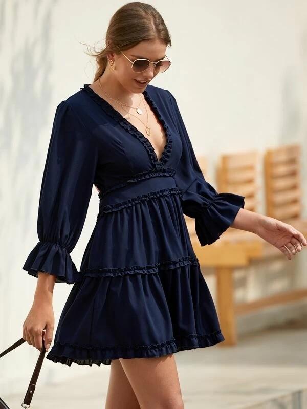 Deep V Neck Frill Trim Backless Dress