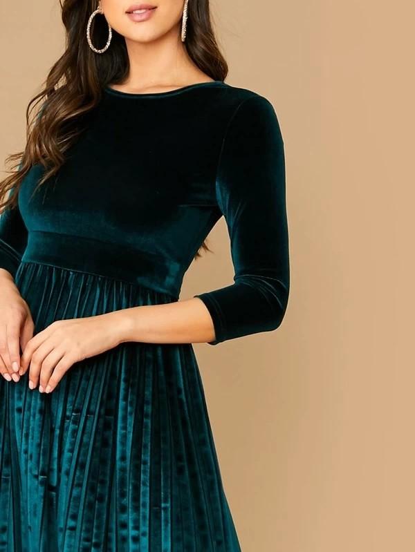 Pleated Hem Belted Velvet Dress