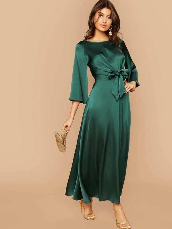 Raglan Sleeve Tie Front Flare Satin Dress