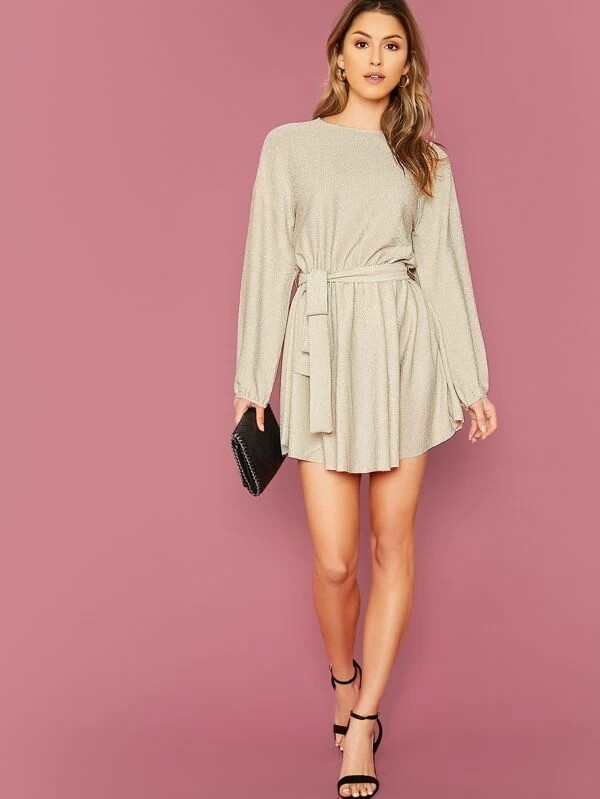 Drop Shoulder Lantern Sleeve Self Belted Glitter Dress