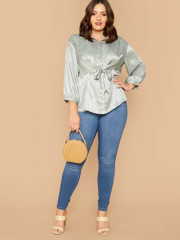 Plus Tie Front Satin Shirt  Blouse