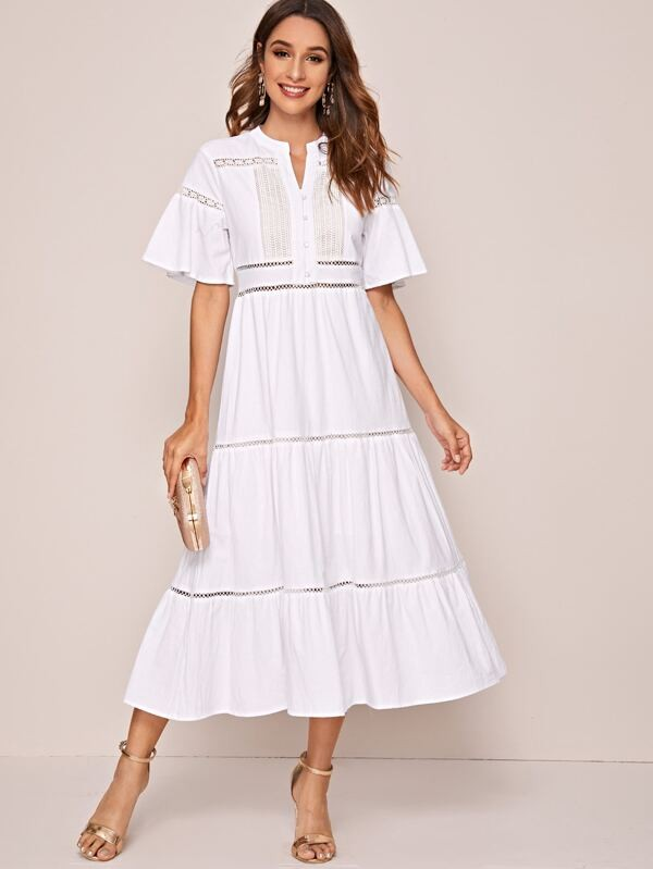 Notched White Lace Panel A-line Dress