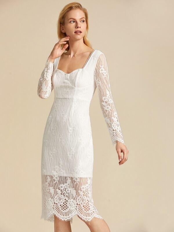 Split Back Bustier Lace Overlay Dress
