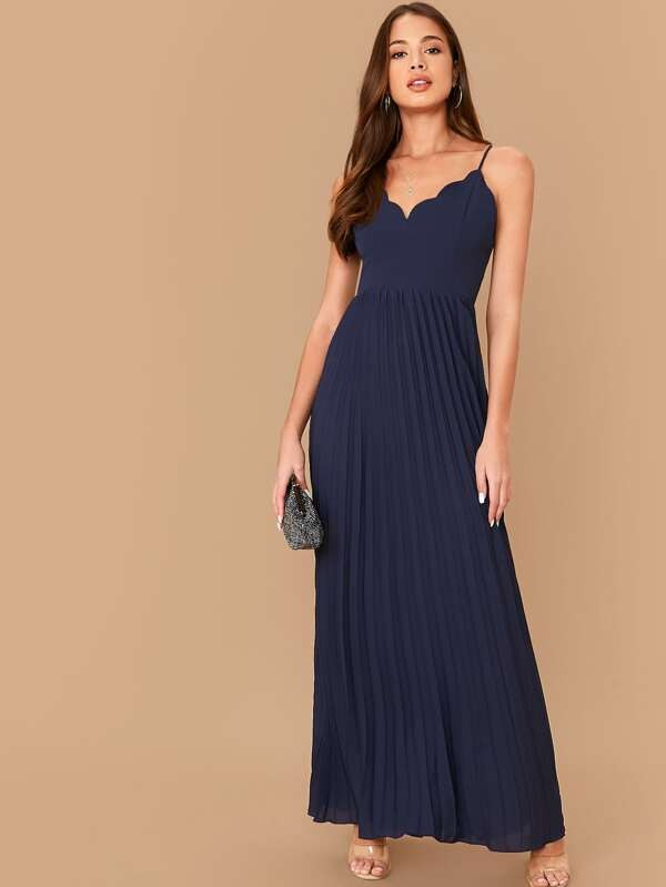 2020 New Style Scallop Edge Crisscross Back Pleated Women Maxi Dress