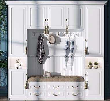 简美鞋柜3d尺寸模型