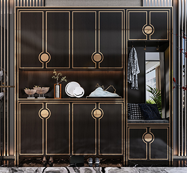 新中式鞋柜3d尺寸模型