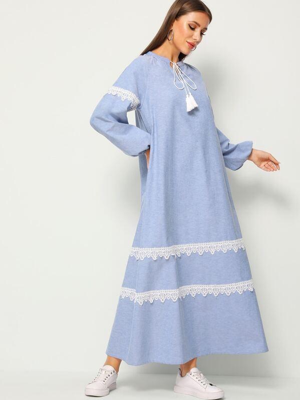 Tassel Tie Neck Eyelash Lace Trim Lantern Sleeve Dress