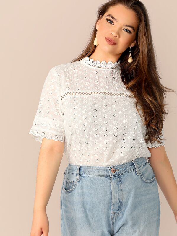 Plus Elegant Lace Insert Top Women Blouse