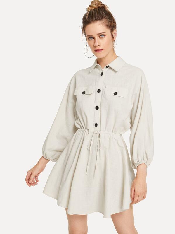 Button Front Drawstring Waist Utility Lantern sleeve Women Shirt Dress