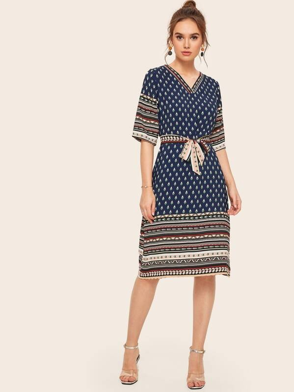 Indie Folk Print V-neck Self Tie Lady Dress