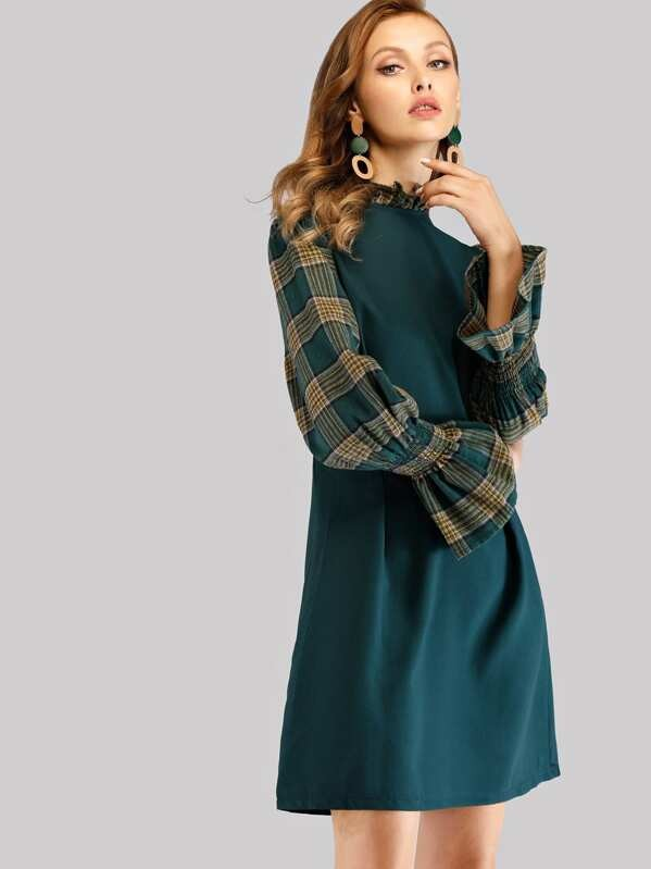 Frill Neck Flounce Sleeve Plaid Dress