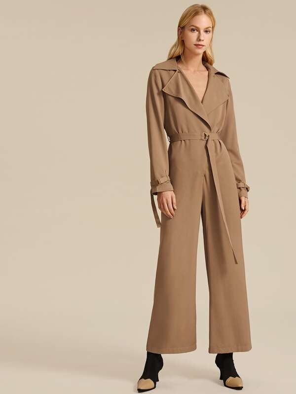 Spring Summer Notch Collar Wrap Belted Jumpsuit 2020 design