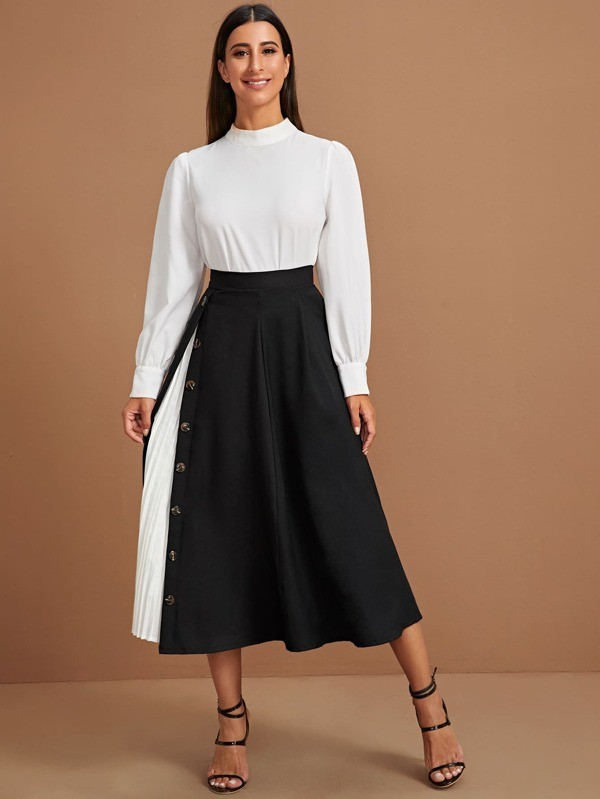2020 New Elegant High Waist Asymmetrical Maxi Women Contrast  Pleated Button A-line Skirt
