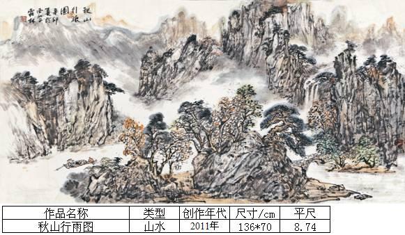 杨霜林40秋山行雨图