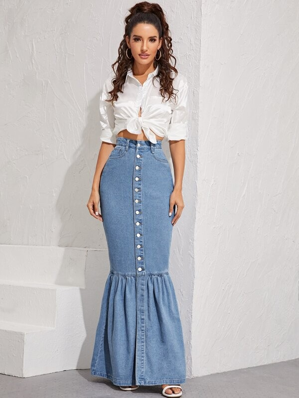 Women Mermaid  Long Maxi Jeans Skirt Ruffled Hem Denim Sexy Front Fishtail Skirts