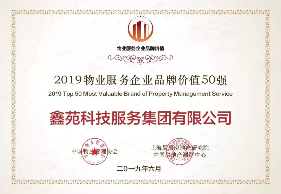 2019物业服务企业品牌价值50强