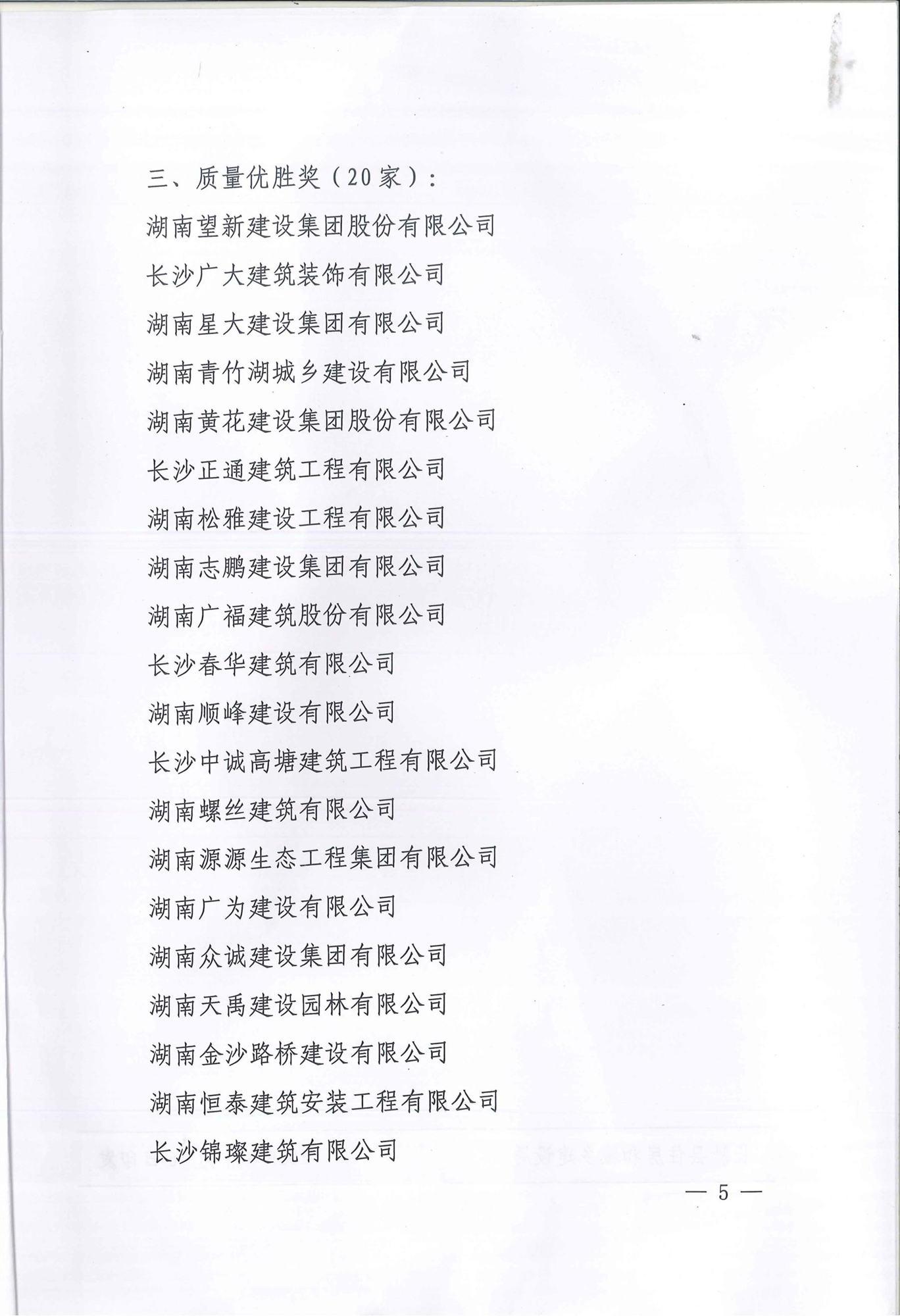 2018年度长沙县建筑企业信用评价结果