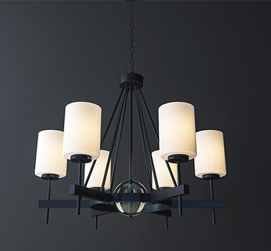 现代铁艺吊灯3d模型
