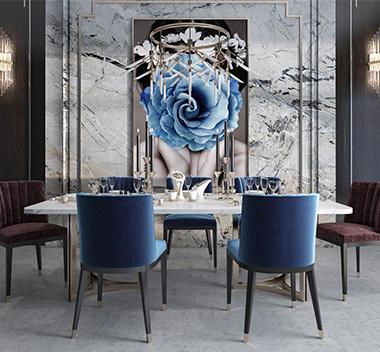 现代轻奢组合餐桌椅3d模型