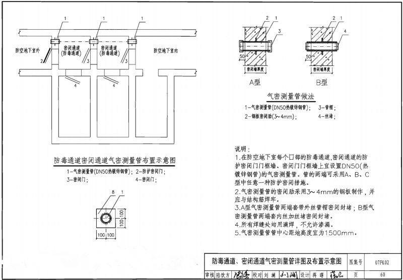 人防通风密闭管预埋时长度是防护墙的厚度吗 ?