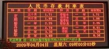 澳门特别行政区大丰银行办公大厅LED双色显示屏专用F3.0表贴双色(奥马哈)