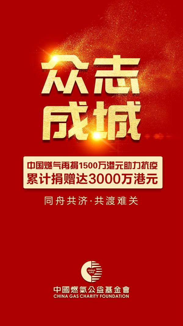 中国燃气再捐1500万港元助力抗疫,累计捐赠达3000万港元