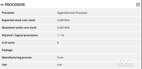 一款海光处理器曝光x86架构8核心16线程